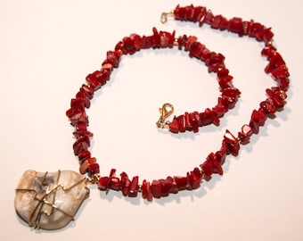 Coral and Oyster Shell Wire-wrapped Necklace