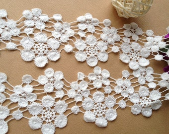 White Cotton Lace Flowers Lace Trim Embroidery Lace Trims 2.75 Inches Wide