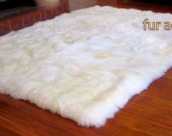 NEW Faux Fur Rug / Fine Shaggy Bright White Area Carpet / Accent Throw Rug /