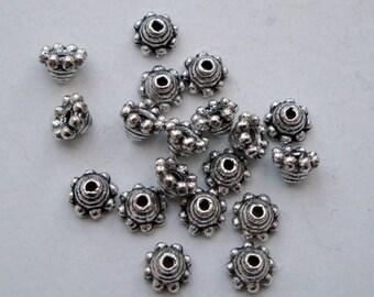 5mm bead caps antique silver, 100 beadcaps, bobble edge, bulk wholesale pack BCS013