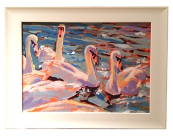 A Impressionist oil painting of swans feeding