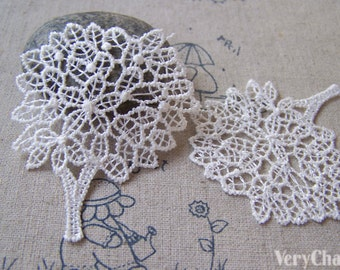 10 pcs Tree Crochet White Filigree Polyester Lace Doily 46x58mm A5300