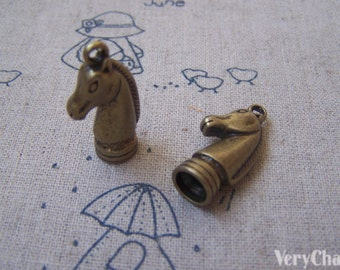 10 pcs Antique Bronze CHESS KNIGHT Horse Pendant Tassel Caps 13x26mm A4948