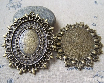 Textured Oval Cameo Base Settings Bronze Bezel Tray Match 18x25mm/30x40mm Cameo Set of 4 pcs  A4772