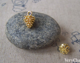 10 pcs of Gold Tone Brass Acorns Pinecones Charms 8x12mm A4590
