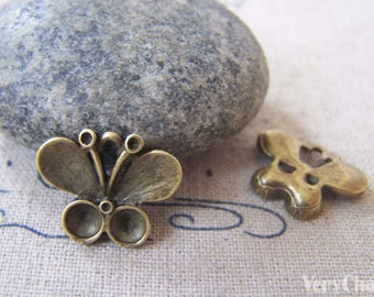 20 pcs of Antique Bronze Butterfly Charms 14x17mm A2922