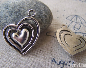 10 pcs of Antique Silver Filigree Three Layer Heart Charms 25x25mm  A2364