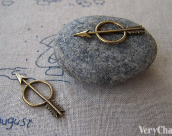 20 pcs of Antique Bronze Ring Arrow Charms 13x28mm A2318