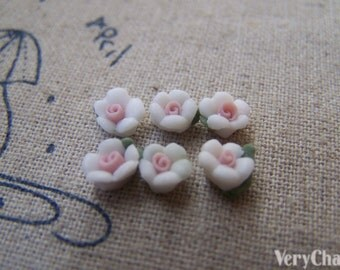 50 pcs of White Ceramic Flower Cabochon 6mm A2162
