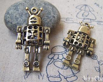 5 pcs of Antique Bronze Filigree 3D Robot Charms Pendants 22x42mm A3064