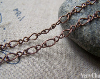 16ft (5m) of Antique Copper Brass Figure 8 Infinity Link Chain  A3034