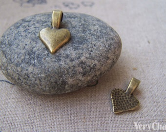 20 pcs of Antique Bronze Lovely Heart Bail Charms 10x16mm A1610