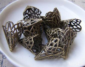 50 pcs Antiqued Bronze Filigree Cone Bead Caps 17x20mm A2045