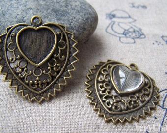 Heart Shaped Cameo Base Settings Pendant Tray Antique Bronze Finish Match 12mm Cabochon Set of 10 pcs  A3201