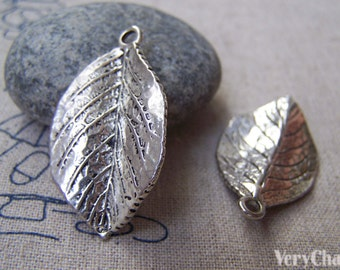 10 pcs of Antique Silver Lovely Leaf Charms 20x35mm A5187