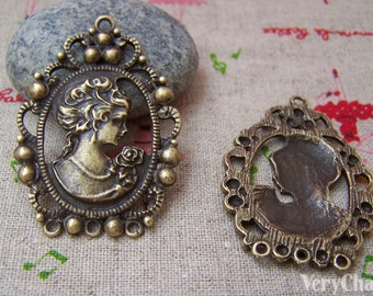 10 pcs of Antique Bronze Victorian Lady Oval Pendant Charms 32x45mm A393