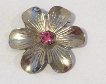 Antique Vintage Art Deco sterling silver Rhinestone Flower Pin/Brooch
