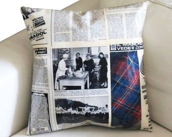 Cushion Cover - Recycled vintage magazine Pillow Case