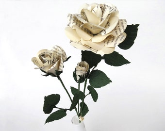 Paper Flowers 3 Eternal Roses with Vintage Music Sheets