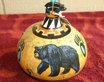 Gourd - Native American Black Bear pot