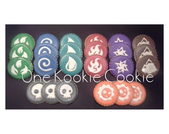 Two dozen Element themed custom cookies