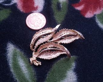 Goldtone Three Leaves Brooch