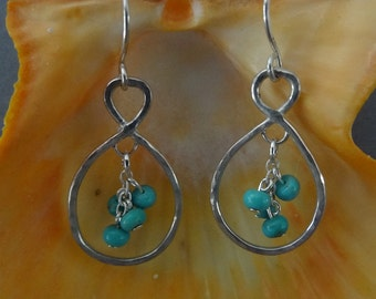 Sterling Silver Wire Infinity Earrings With Turquoise Dangles
