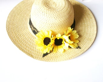 Sun hat-Sunflower hat-Summer hat -Women's Wide Brim - Floral hat- Beach- Pool hat