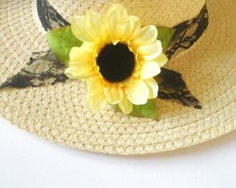 Sunflower  hat-Sun-Summer hat sun -Women's Wide Brim - Floral hat- Beach- Pool hat