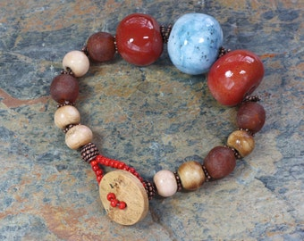 Blue Brown Beaded Bracelet Button Closure Eclectic Jewelry