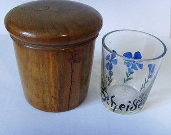 Antique turned wood treen lidded stirrup cup with drinking glass