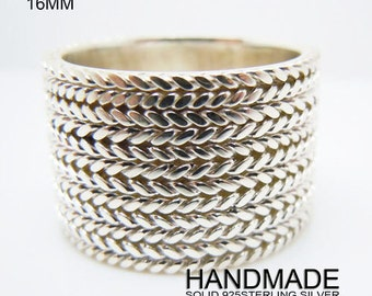 Mens Sterling Silver Wide Cigar Ring 16mm Handmade All Size