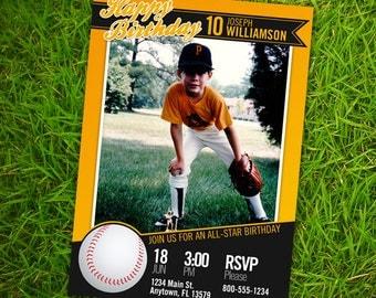 Baseball Card Birthday Invitation - 5x7 or 4x6 Custom Printable Photo Card