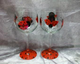 16 oz. Lady bug wine glasses, set of 4