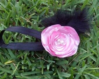 Pink Satin Fabric Flower Fascinator on Adjustable and Interchangeable Elastic Headband - 2 Piece Set