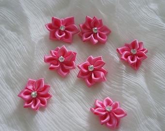 "1 1/8"" Satin Ribbon Flower Rhine stone Appliques 30pcs - hot pink"