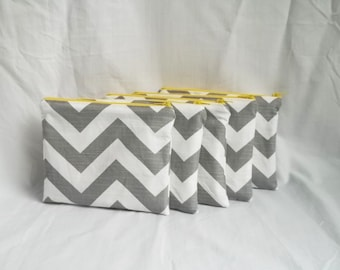 Set of 5 - Embroidered Makeup bag - Personalized Chevron Pouch - Bridesmaid clutches - Small