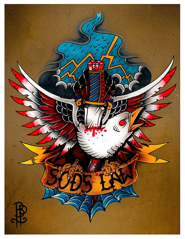 Sods Law Old School Eagle Tattoo Flash Print by ...