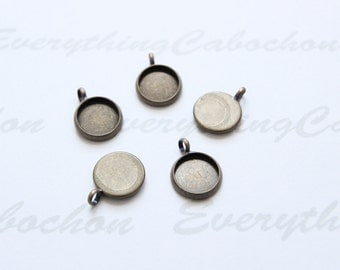 40 pcs Antique Bronze Round Cabochon settings, inner tray 10mm