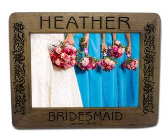 Personalized Wood Engraved Monogrammed Bridesmaid, Maid of Honor, Bridal Picture 5 x 7 Photo Frame with Crystal Bling (024278)