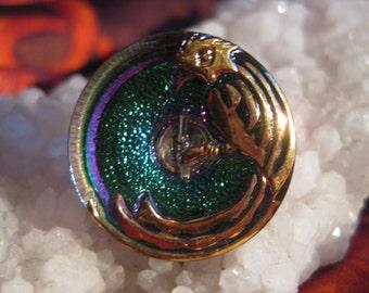 Pretty Parrot in Emerald Aurora Glass Czech Button 22mm