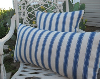 Blue Stripe Pillow Cover, Pillow Case, Cushion Cover, Beach/Ocean, 16''x16'' Decorative Pillow Cover, Stylish French Cottage Pillow Sham