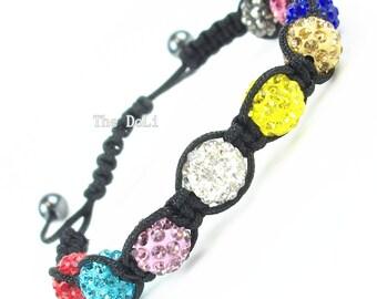 Braided Rainbow shamballa bracelet jewelry 9pcs 10mm Crystal beads adjustable size