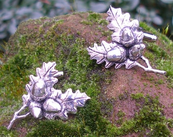 Oak Leaf (Acorn) Cufflinks by Hoardersworld, Handmade in English Pewter, Gift Boxed
