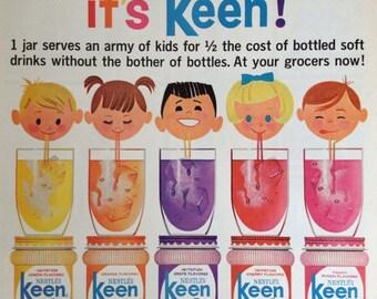 Vintage Nestlé Keen Instant Soft Drink Mix Ad, Vintage Paper Ephemera from a 1963 Life Magazine.