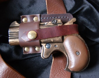 Steampunk Replica Derringer with Holster and Strap