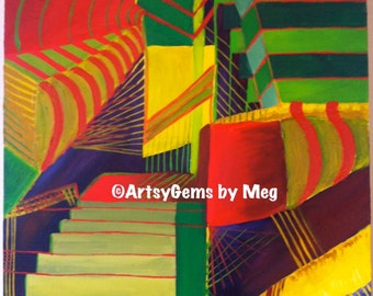 "Original Acrylic Abstract Perspective Painting on Canvas - 20"" x 24"""
