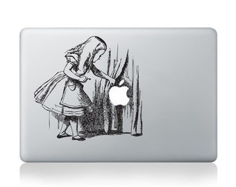 Alice Searching Behind the Curtains Vinyl Sticker for Macbook (13/15)