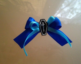 blue bow with coffin hair clip