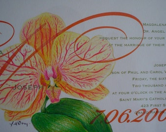 Wedding Invitation Keepsake hand drawn orchid